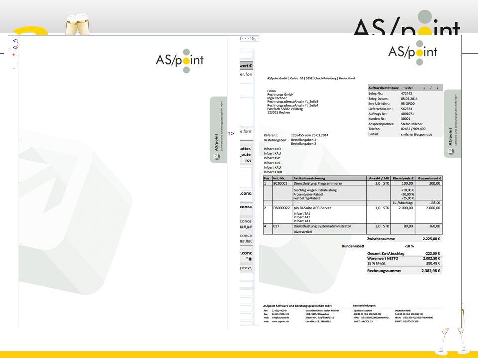 Reportdesigner  Erstellt aus Design, Daten und Overlay die entsprechenden Ausgaben PDF Postscript Design Beleg-Daten (XML, CSV) Overlay