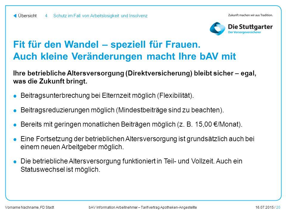 bAV Information Arbeitnehmer – Tarifvertrag Apotheken-Angestellte16.07.2015 / 20 Vorname Nachname, FD Stadt Übersicht Fit für den Wandel – speziell fü
