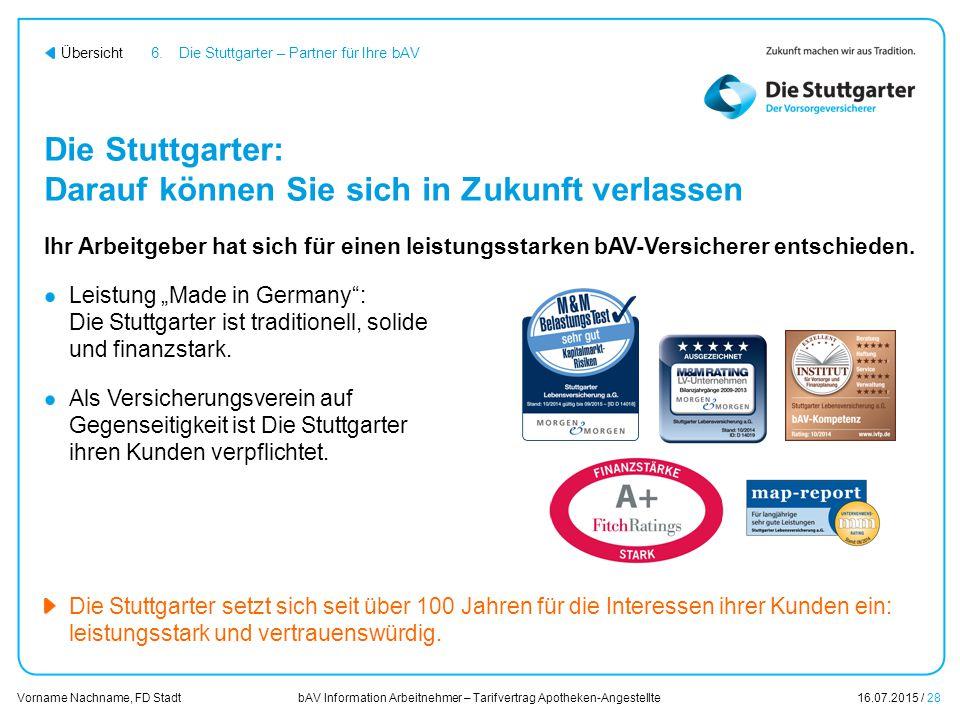 bAV Information Arbeitnehmer – Tarifvertrag Apotheken-Angestellte16.07.2015 / 28 Vorname Nachname, FD Stadt Übersicht Die Stuttgarter: Darauf können S