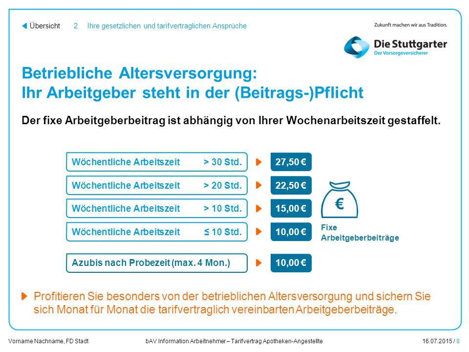 bAV Information Arbeitnehmer – Tarifvertrag Apotheken-Angestellte16.07.2015 / 8 Vorname Nachname, FD Stadt Übersicht Betriebliche Altersversorgung: Ih
