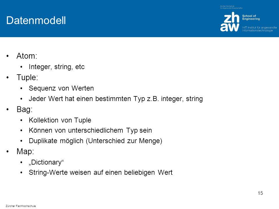 Zürcher Fachhochschule Datenmodell Atom: Integer, string, etc Tuple: Sequenz von Werten Jeder Wert hat einen bestimmten Typ z.B.
