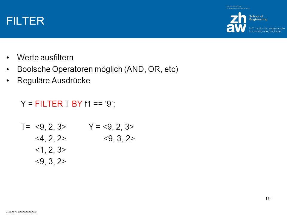 Zürcher Fachhochschule FILTER Werte ausfiltern Boolsche Operatoren möglich (AND, OR, etc) Reguläre Ausdrücke Y = FILTER T BY f1 == '9'; T= Y = 19