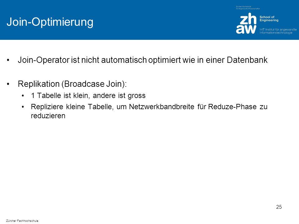 Zürcher Fachhochschule Join-Optimierung Join-Operator ist nicht automatisch optimiert wie in einer Datenbank Replikation (Broadcase Join): 1 Tabelle ist klein, andere ist gross Repliziere kleine Tabelle, um Netzwerkbandbreite für Reduze-Phase zu reduzieren 25