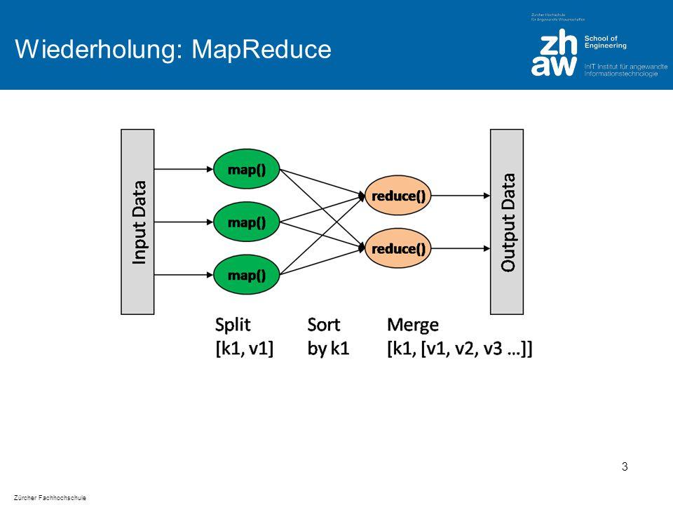 Zürcher Fachhochschule Wörterzählen: Einfacher Pseudo Code define wordCount as Map ; for each document in documentSet { T = tokenize(document); for each token in T { wordCount[token]++; } display(wordCount); Funktioniert für kleine Datenmengen 4