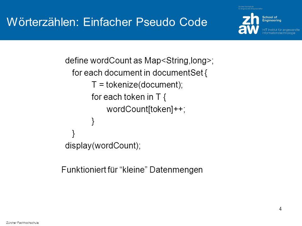 Zürcher Fachhochschule Paralleles Programmieren Wie erweitert man den Code, sodass er auf mehreren Machinen parallel läuft.