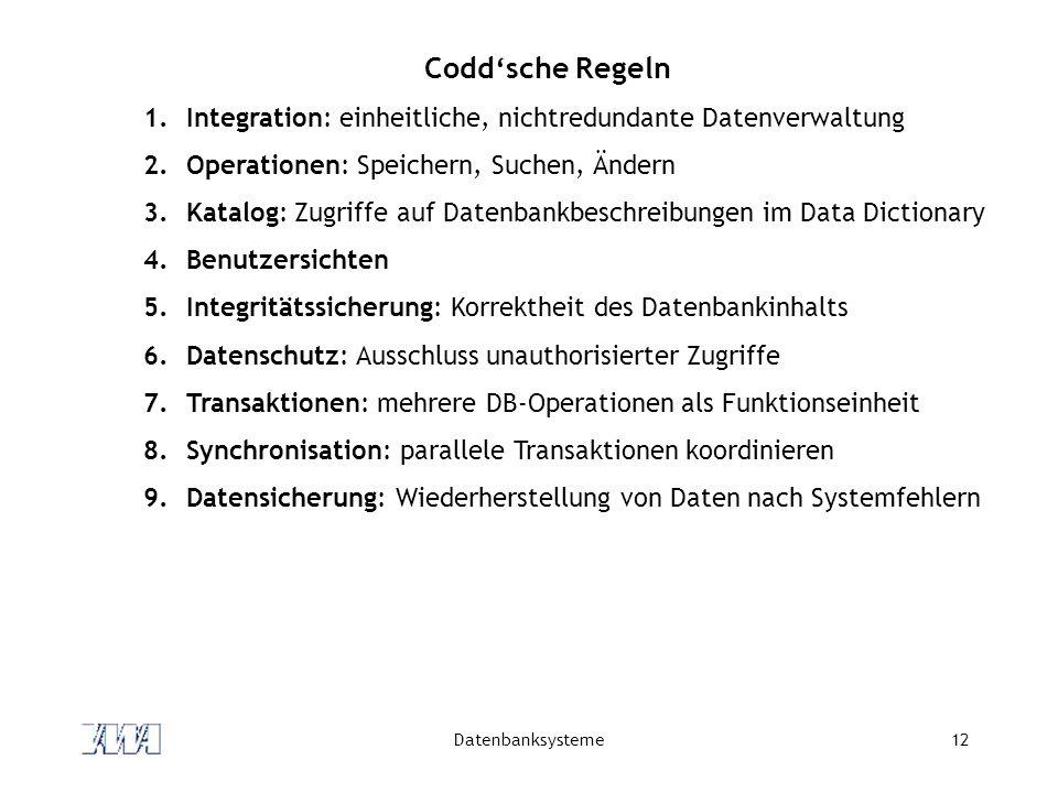 Datenbanksysteme12 Codd'sche Regeln 1.Integration: einheitliche, nichtredundante Datenverwaltung 2.Operationen: Speichern, Suchen, Ändern 3.Katalog: Zugriffe auf Datenbankbeschreibungen im Data Dictionary 4.Benutzersichten 5.Integritätssicherung: Korrektheit des Datenbankinhalts 6.Datenschutz: Ausschluss unauthorisierter Zugriffe 7.Transaktionen: mehrere DB-Operationen als Funktionseinheit 8.Synchronisation: parallele Transaktionen koordinieren 9.Datensicherung: Wiederherstellung von Daten nach Systemfehlern