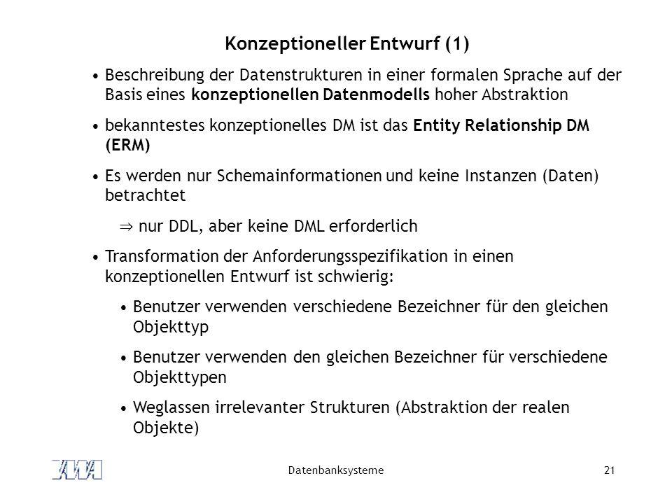 Datenbanksysteme21 Konzeptioneller Entwurf (1) Beschreibung der Datenstrukturen in einer formalen Sprache auf der Basis eines konzeptionellen Datenmodells hoher Abstraktion bekanntestes konzeptionelles DM ist das Entity Relationship DM (ERM) Es werden nur Schemainformationen und keine Instanzen (Daten) betrachtet ⇒ nur DDL, aber keine DML erforderlich Transformation der Anforderungsspezifikation in einen konzeptionellen Entwurf ist schwierig: Benutzer verwenden verschiedene Bezeichner für den gleichen Objekttyp Benutzer verwenden den gleichen Bezeichner für verschiedene Objekttypen Weglassen irrelevanter Strukturen (Abstraktion der realen Objekte)
