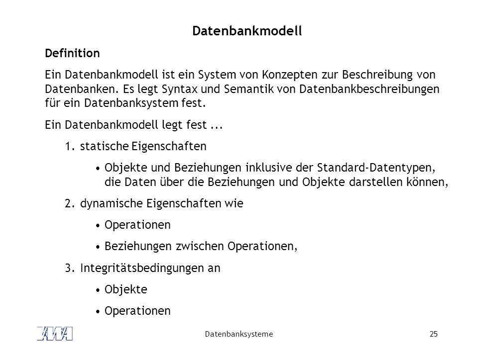Datenbanksysteme25 Datenbankmodell Definition Ein Datenbankmodell ist ein System von Konzepten zur Beschreibung von Datenbanken.