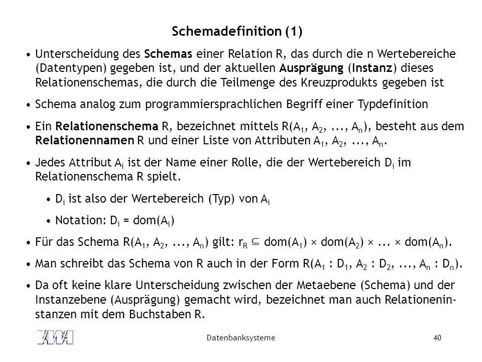 Datenbanksysteme40 Schemadefinition (1) Unterscheidung des Schemas einer Relation R, das durch die n Wertebereiche (Datentypen) gegeben ist, und der aktuellen Ausprägung (Instanz) dieses Relationenschemas, die durch die Teilmenge des Kreuzprodukts gegeben ist Schema analog zum programmiersprachlichen Begriff einer Typdefinition Ein Relationenschema R, bezeichnet mittels R(A 1, A 2,..., A n ), besteht aus dem Relationennamen R und einer Liste von Attributen A 1, A 2,..., A n.