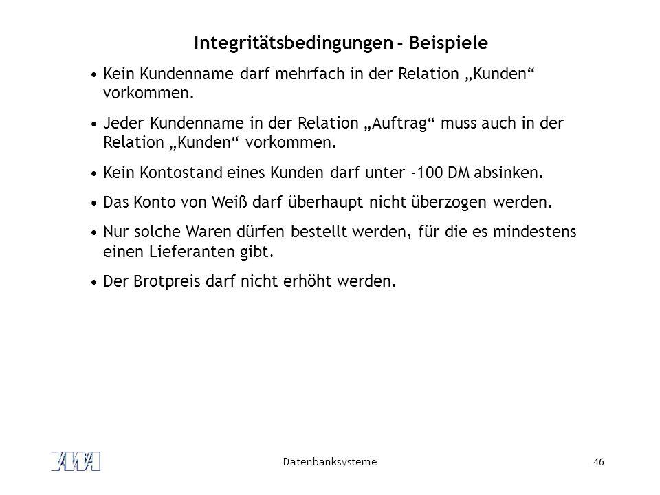 """Datenbanksysteme46 Integritätsbedingungen - Beispiele Kein Kundenname darf mehrfach in der Relation """"Kunden vorkommen."""