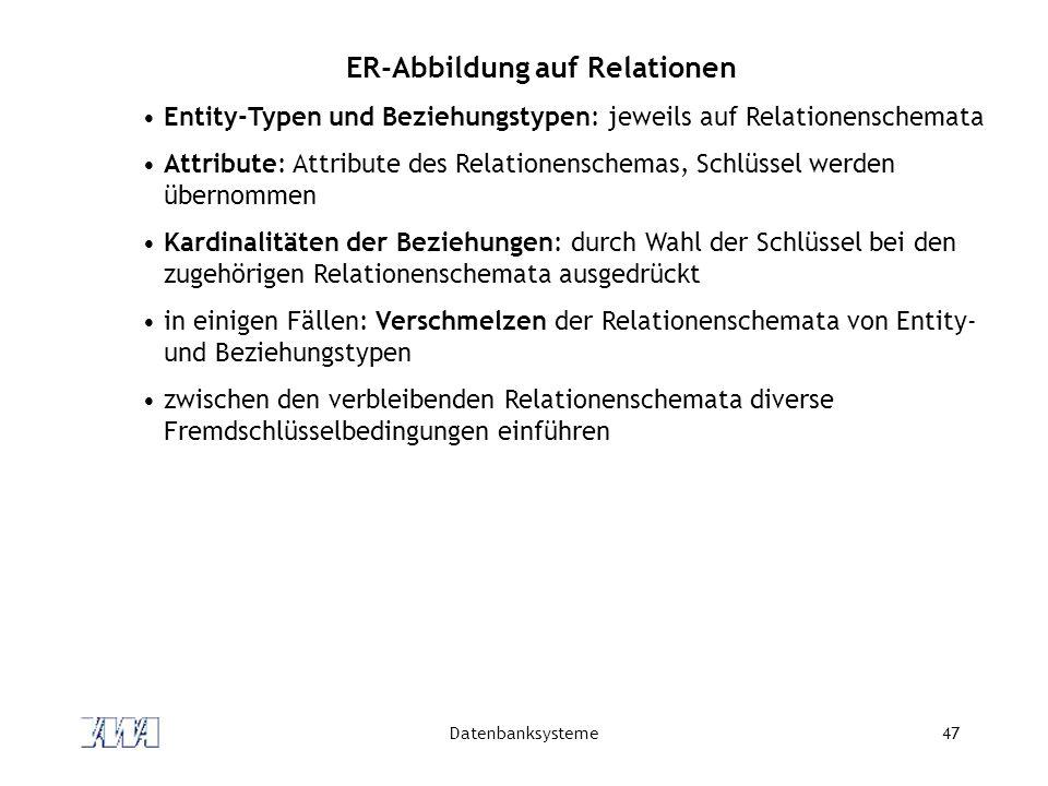 Datenbanksysteme47 ER-Abbildung auf Relationen Entity-Typen und Beziehungstypen: jeweils auf Relationenschemata Attribute: Attribute des Relationenschemas, Schlüssel werden übernommen Kardinalitäten der Beziehungen: durch Wahl der Schlüssel bei den zugehörigen Relationenschemata ausgedrückt in einigen Fällen: Verschmelzen der Relationenschemata von Entity- und Beziehungstypen zwischen den verbleibenden Relationenschemata diverse Fremdschlüsselbedingungen einführen