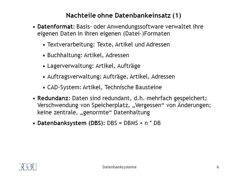 Datenbanksysteme17 DB-Sprachen Datendefinitionssprache (engl.