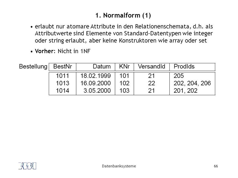 Datenbanksysteme66 1.Normalform (1) erlaubt nur atomare Attribute in den Relationenschemata, d.h.