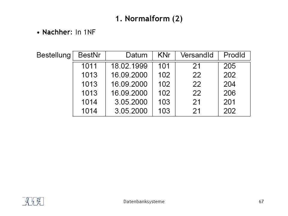 Datenbanksysteme67 1. Normalform (2) Nachher: In 1NF