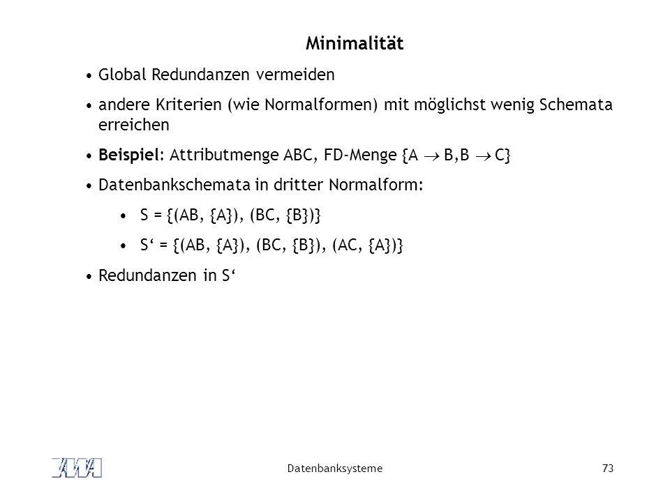 Datenbanksysteme73 Minimalität Global Redundanzen vermeiden andere Kriterien (wie Normalformen) mit möglichst wenig Schemata erreichen Beispiel: Attributmenge ABC, FD-Menge {A  B,B  C} Datenbankschemata in dritter Normalform: S = {(AB, {A}), (BC, {B})} S' = {(AB, {A}), (BC, {B}), (AC, {A})} Redundanzen in S'