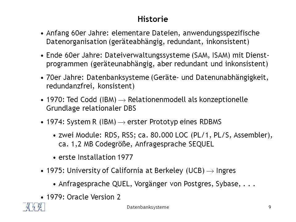 Datenbanksysteme9 Historie Anfang 60er Jahre: elementare Dateien, anwendungsspezifische Datenorganisation (geräteabhängig, redundant, inkonsistent) Ende 60er Jahre: Dateiverwaltungssysteme (SAM, ISAM) mit Dienst- programmen (geräteunabhängig, aber redundant und inkonsistent) 70er Jahre: Datenbanksysteme (Geräte- und Datenunabhängigkeit, redundanzfrei, konsistent) 1970: Ted Codd (IBM)  Relationenmodell als konzeptionelle Grundlage relationaler DBS 1974: System R (IBM)  erster Prototyp eines RDBMS zwei Module: RDS, RSS; ca.