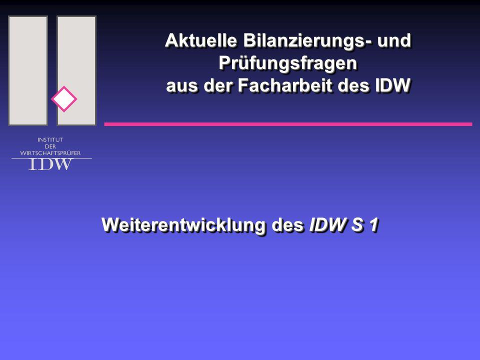 Weiterentwicklung des IDW S 1 Aktuelle Bilanzierungs- und Prüfungsfragen aus der Facharbeit des IDW
