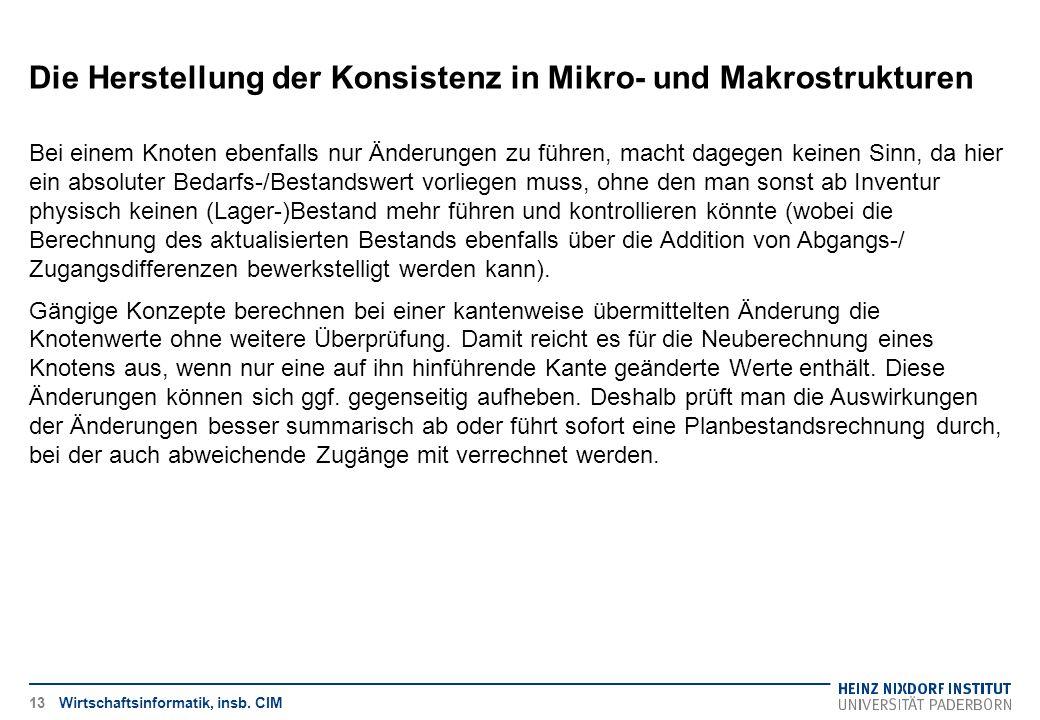 Die Herstellung der Konsistenz in Mikro- und Makrostrukturen Wirtschaftsinformatik, insb. CIM Bei einem Knoten ebenfalls nur Änderungen zu führen, mac
