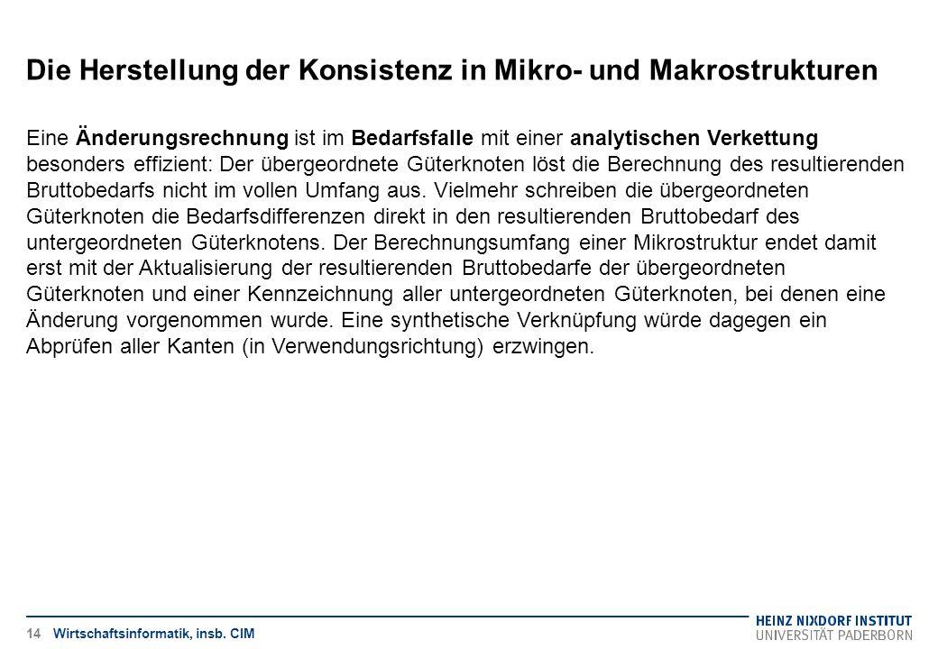 Die Herstellung der Konsistenz in Mikro- und Makrostrukturen Wirtschaftsinformatik, insb. CIM Eine Änderungsrechnung ist im Bedarfsfalle mit einer ana