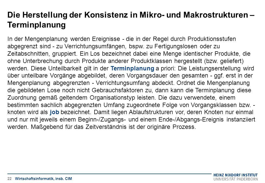 Die Herstellung der Konsistenz in Mikro- und Makrostrukturen – Terminplanung Wirtschaftsinformatik, insb. CIM In der Mengenplanung werden Ereignisse -