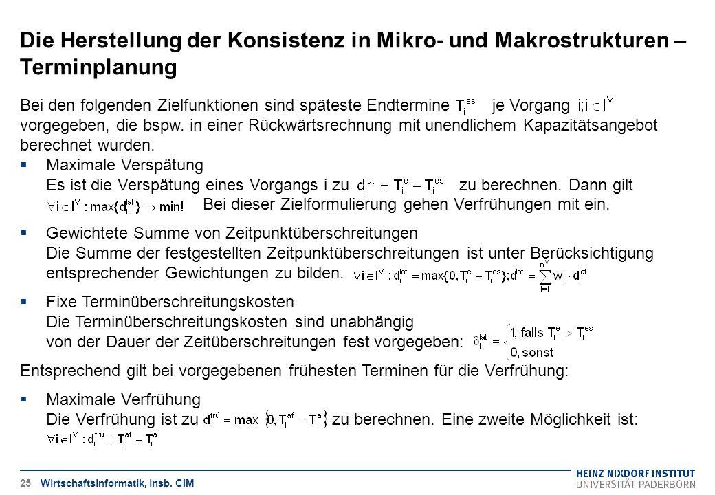 Die Herstellung der Konsistenz in Mikro- und Makrostrukturen – Terminplanung Wirtschaftsinformatik, insb. CIM Bei den folgenden Zielfunktionen sind sp