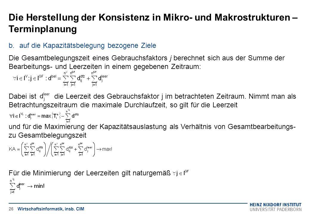 Die Herstellung der Konsistenz in Mikro- und Makrostrukturen – Terminplanung Wirtschaftsinformatik, insb. CIM b.auf die Kapazitätsbelegung bezogene Zi
