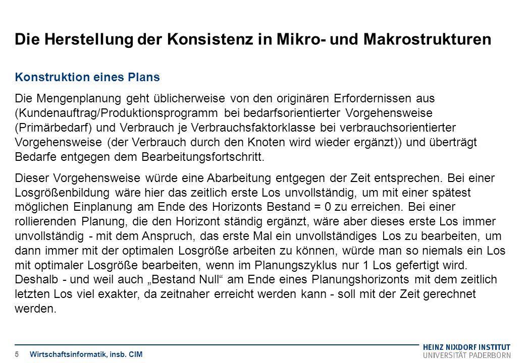 Die Herstellung der Konsistenz in Mikro- und Makrostrukturen Wirtschaftsinformatik, insb. CIM Konstruktion eines Plans Die Mengenplanung geht üblicher