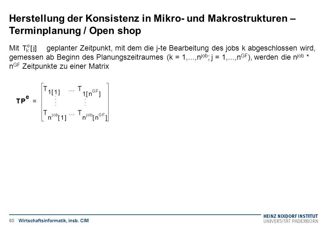 Herstellung der Konsistenz in Mikro- und Makrostrukturen – Terminplanung / Open shop Wirtschaftsinformatik, insb. CIM Mit geplanter Zeitpunkt, mit dem