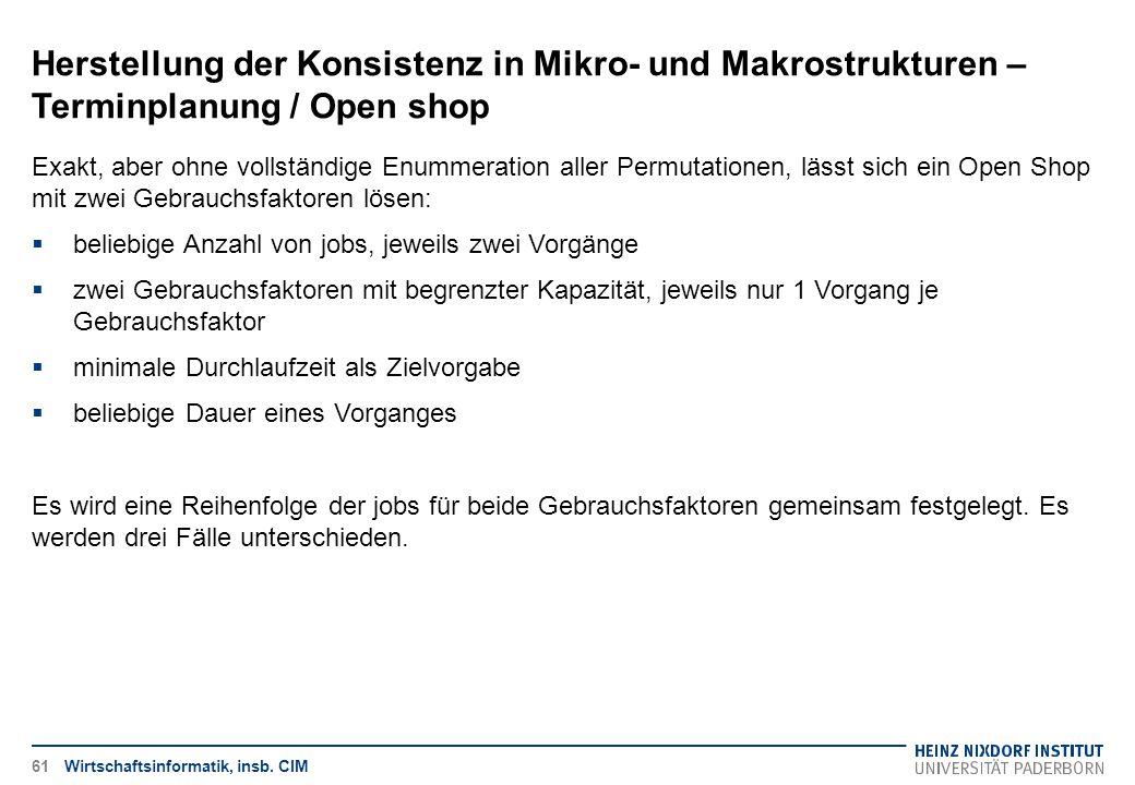 Herstellung der Konsistenz in Mikro- und Makrostrukturen – Terminplanung / Open shop Wirtschaftsinformatik, insb. CIM Exakt, aber ohne vollständige En