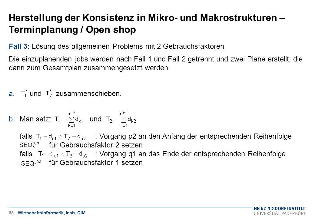 Herstellung der Konsistenz in Mikro- und Makrostrukturen – Terminplanung / Open shop Wirtschaftsinformatik, insb. CIM Fall 3: Lösung des allgemeinen P