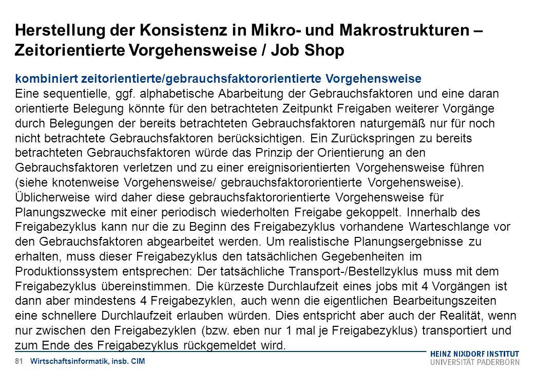 Herstellung der Konsistenz in Mikro- und Makrostrukturen – Zeitorientierte Vorgehensweise / Job Shop Wirtschaftsinformatik, insb. CIM kombiniert zeito