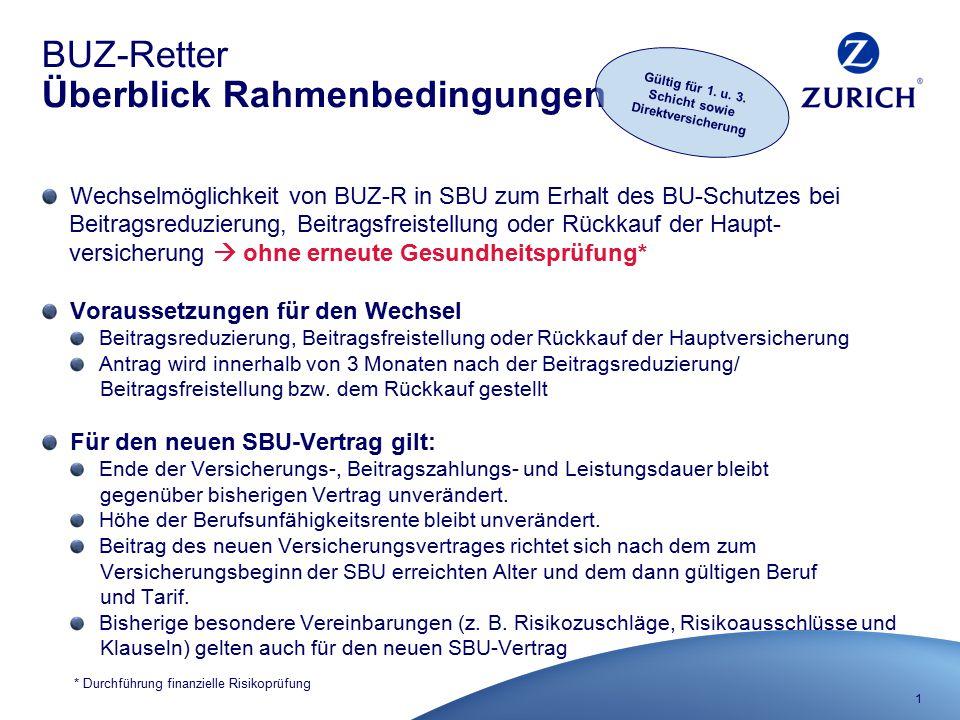 1 BUZ-Retter Überblick Rahmenbedingungen Wechselmöglichkeit von BUZ-R in SBU zum Erhalt des BU-Schutzes bei Beitragsreduzierung, Beitragsfreistellung