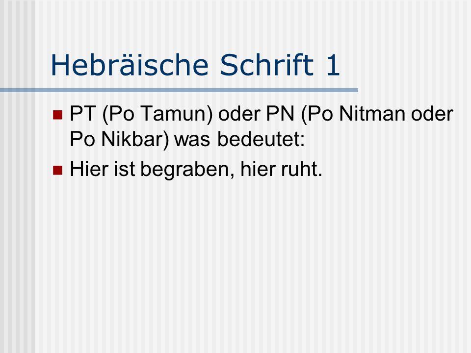 Hebräische Schrift 2 TNZBH, Abkürzung des Satzes: Tehi Nafscho Zeruah Bizror Ha-chajim.