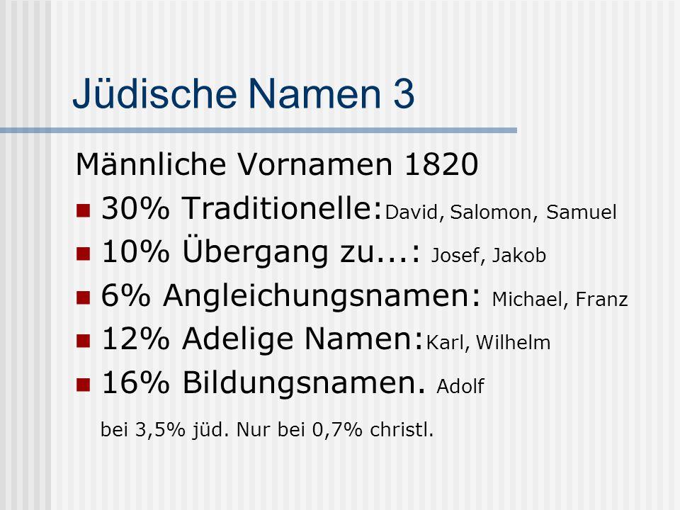 Jüdische Namen 4 17% Hüllnamen: Ignaz für Isaak, Leopold für Löw, Bernhard für Bär 7% lassen sich nicht zuordnen