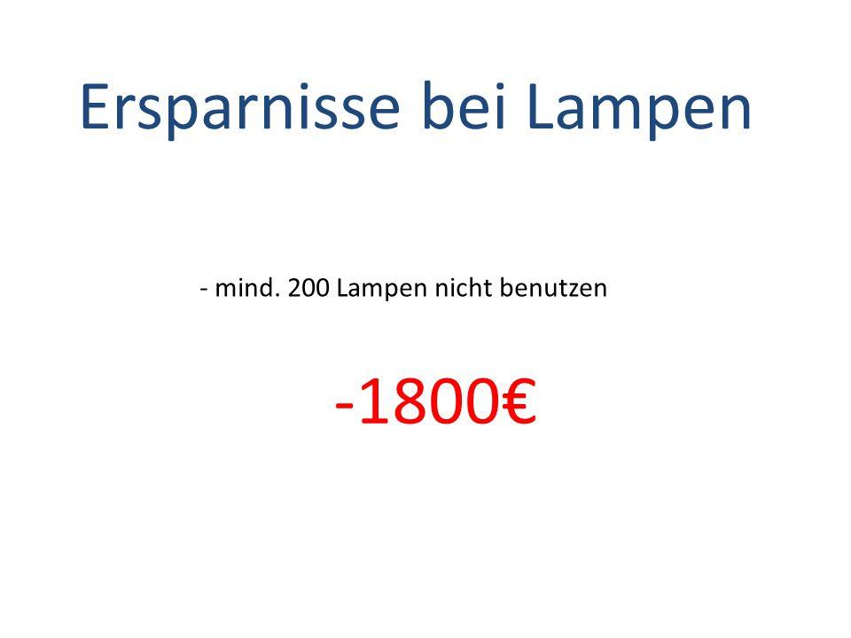 Ersparnisse bei Lampen - mind. 200 Lampen nicht benutzen -1800€