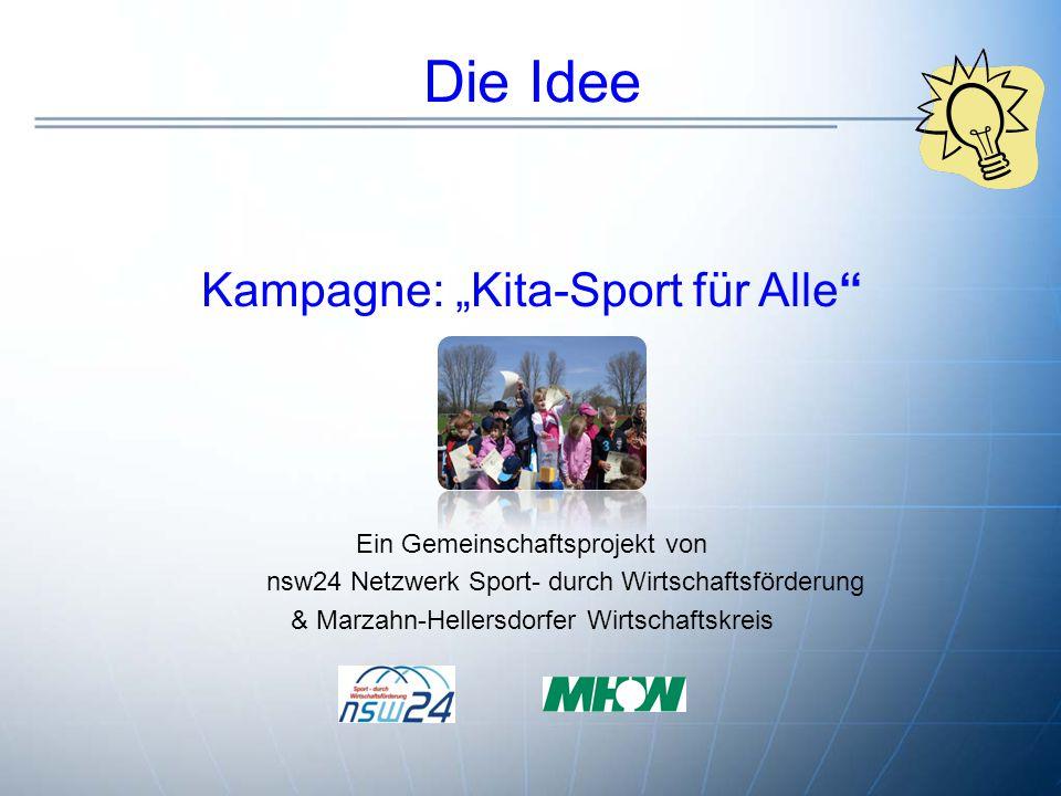"""Die Idee Kampagne: """"Kita-Sport für Alle"""" Ein Gemeinschaftsprojekt von nsw24 Netzwerk Sport- durch Wirtschaftsförderung & Marzahn-Hellersdorfer Wirtsch"""