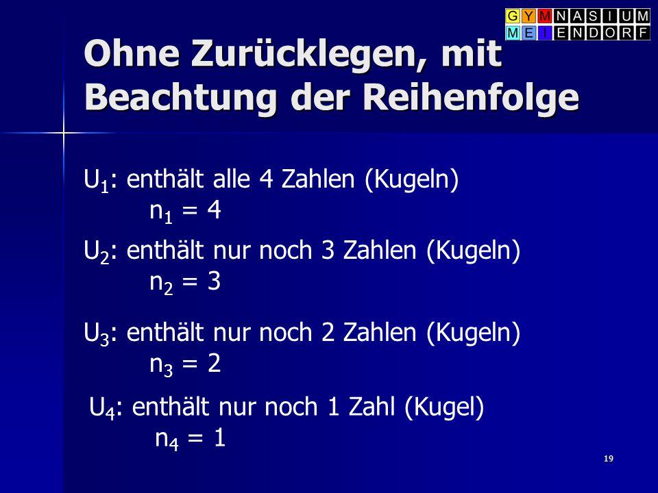 19 Ohne Zurücklegen, mit Beachtung der Reihenfolge U 1 : enthält alle 4 Zahlen (Kugeln) n 1 = 4 U 2 : enthält nur noch 3 Zahlen (Kugeln) n 2 = 3 U 3 :