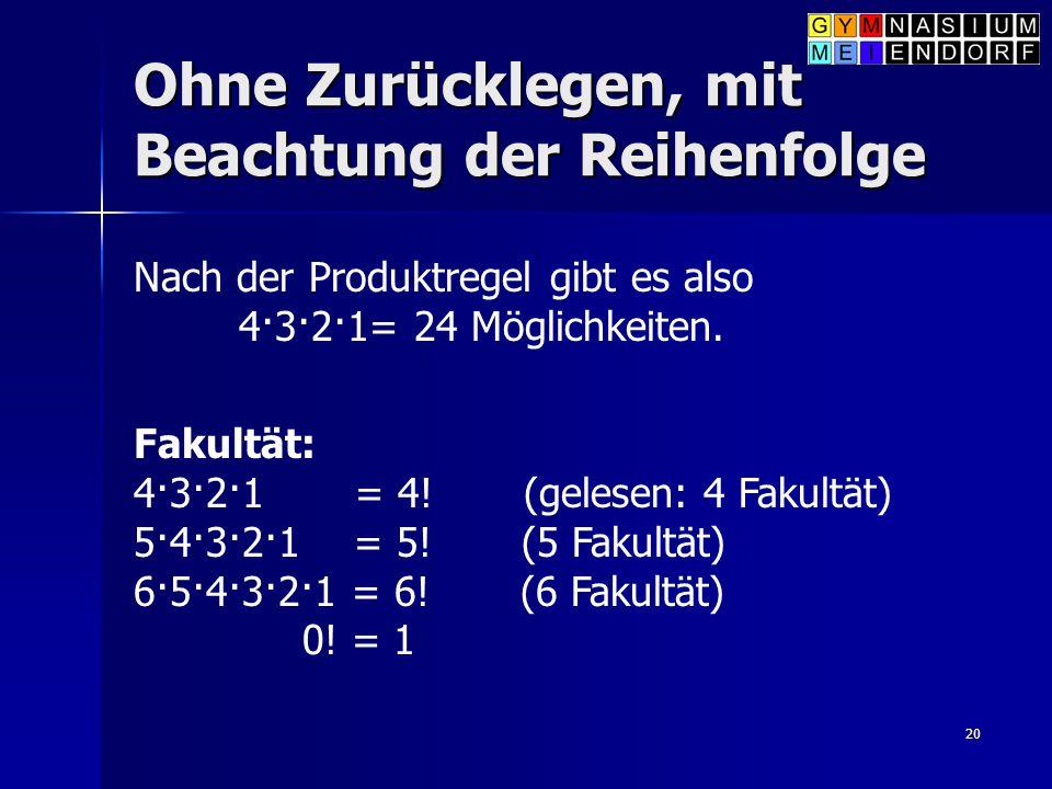20 Ohne Zurücklegen, mit Beachtung der Reihenfolge Nach der Produktregel gibt es also 4·3·2·1= 24 Möglichkeiten. Fakultät: 4·3·2·1 = 4! (gelesen: 4 Fa