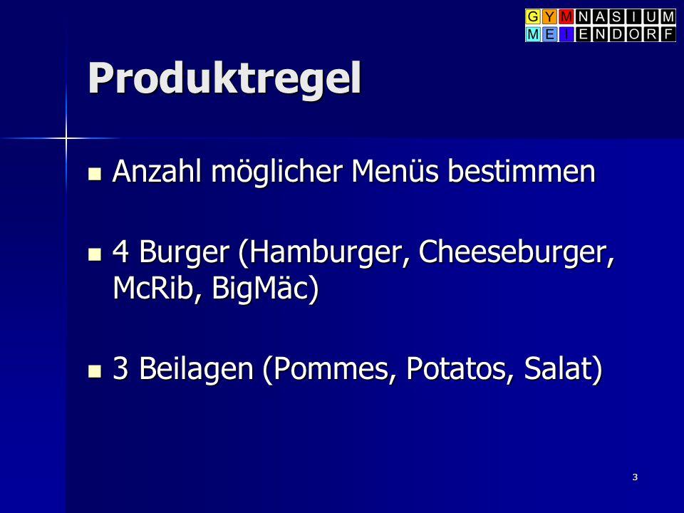 3 Produktregel Anzahl möglicher Menüs bestimmen Anzahl möglicher Menüs bestimmen 4 Burger (Hamburger, Cheeseburger, McRib, BigMäc) 4 Burger (Hamburger