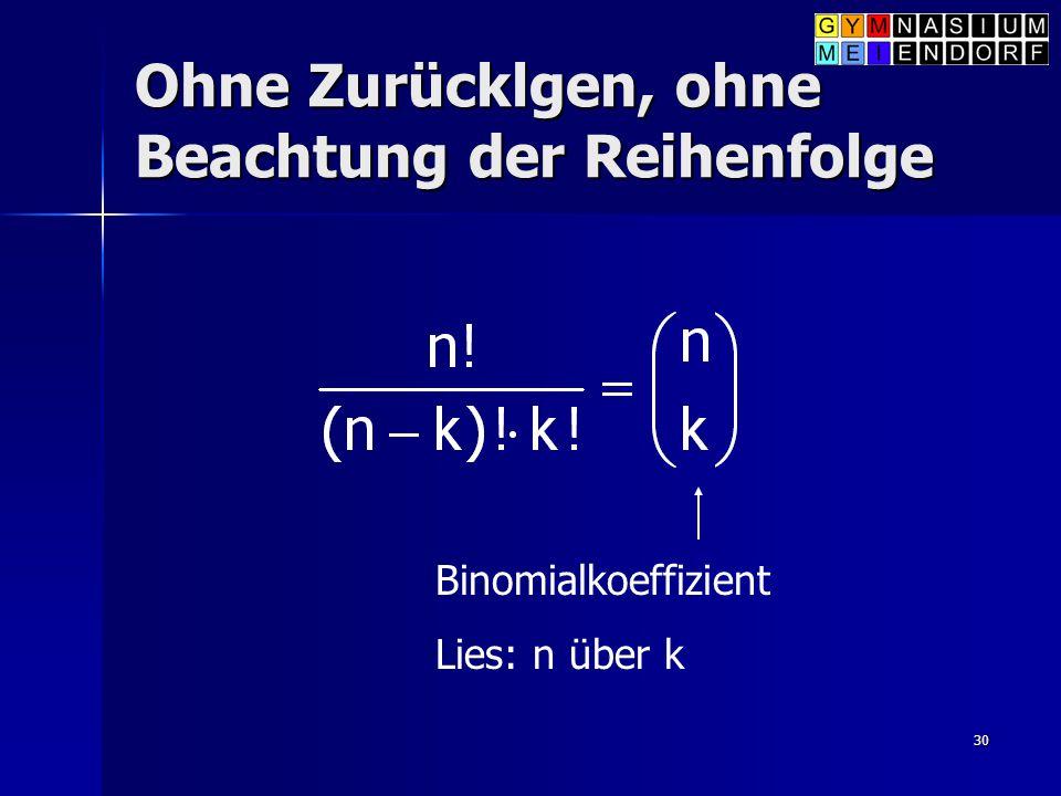 30 Ohne Zurücklgen, ohne Beachtung der Reihenfolge Binomialkoeffizient Lies: n über k
