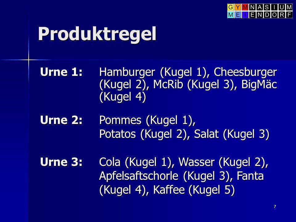 7 Produktregel Urne 1: Hamburger (Kugel 1), Cheesburger (Kugel 2), McRib (Kugel 3), BigMäc (Kugel 4) Urne 2: Pommes (Kugel 1), Potatos (Kugel 2), Sala