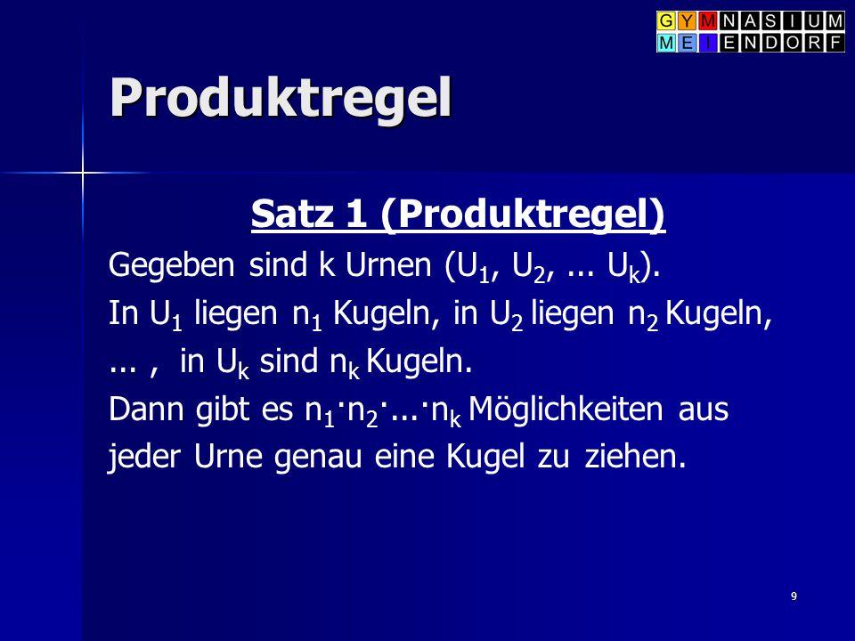 9 Produktregel Satz 1 (Produktregel) Gegeben sind k Urnen (U 1, U 2,... U k ). In U 1 liegen n 1 Kugeln, in U 2 liegen n 2 Kugeln,..., in U k sind n k