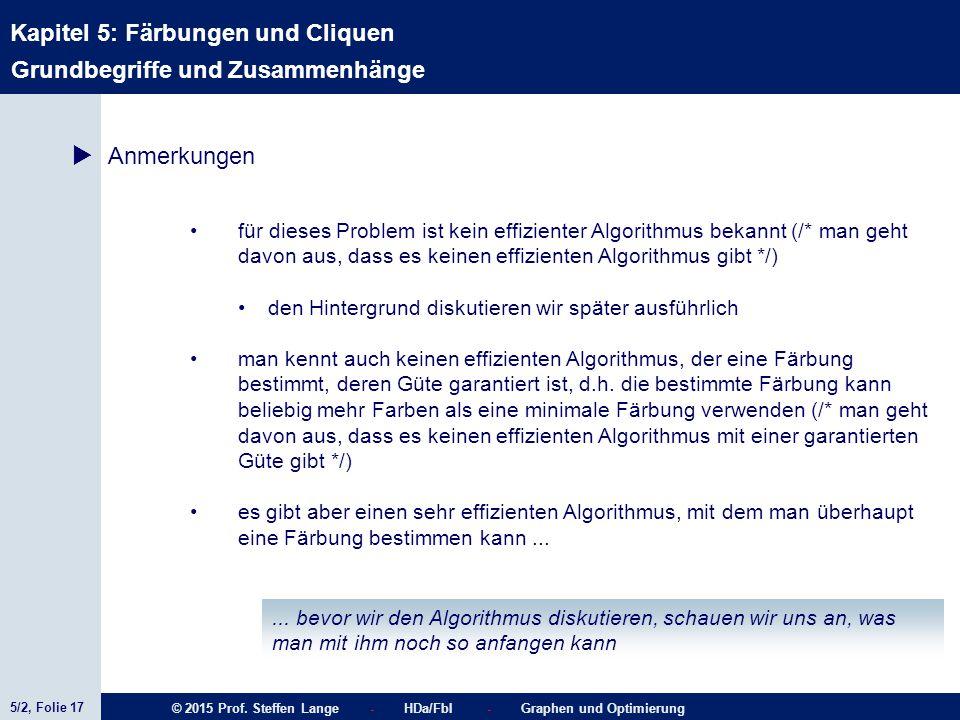 5/2, Folie 17 © 2015 Prof. Steffen Lange - HDa/FbI - Graphen und Optimierung Kapitel 5: Färbungen und Cliquen  Anmerkungen Grundbegriffe und Zusammen