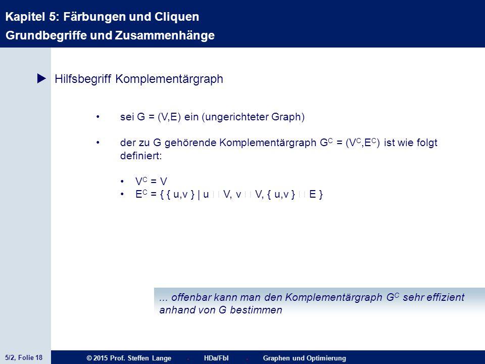 5/2, Folie 18 © 2015 Prof. Steffen Lange - HDa/FbI - Graphen und Optimierung Kapitel 5: Färbungen und Cliquen  Hilfsbegriff Komplementärgraph Grundbe