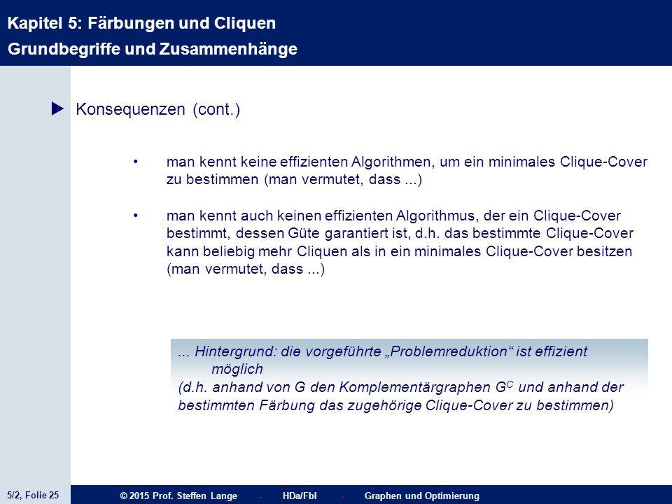 5/2, Folie 25 © 2015 Prof. Steffen Lange - HDa/FbI - Graphen und Optimierung Kapitel 5: Färbungen und Cliquen Grundbegriffe und Zusammenhänge  Konseq