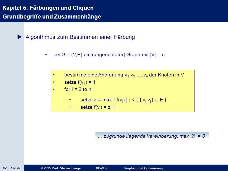 5/2, Folie 26 © 2015 Prof. Steffen Lange - HDa/FbI - Graphen und Optimierung Kapitel 5: Färbungen und Cliquen Grundbegriffe und Zusammenhänge  Algori