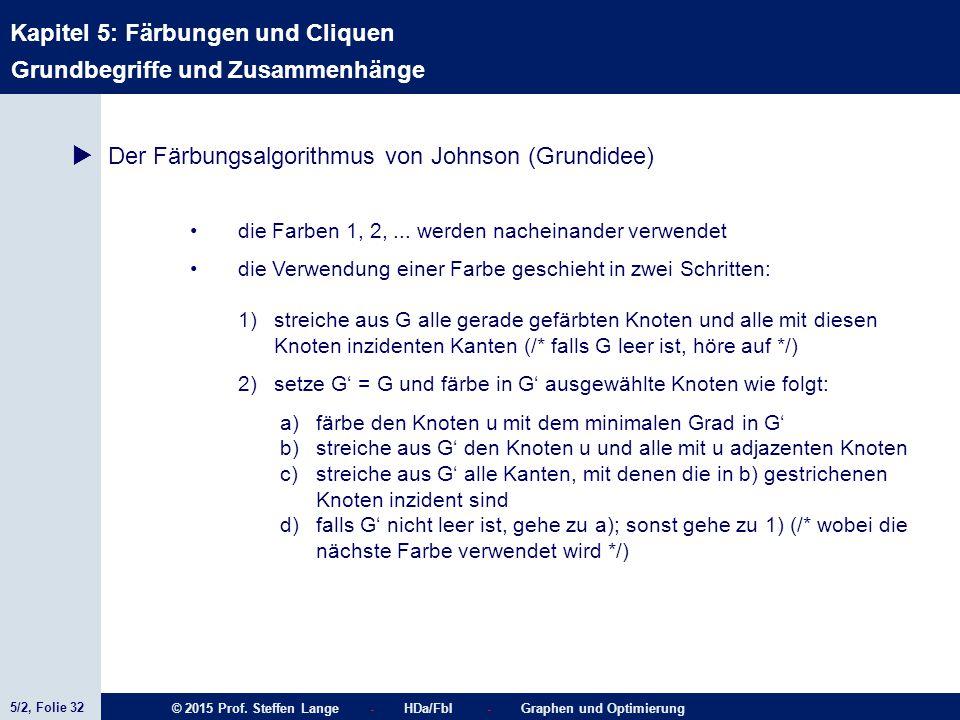5/2, Folie 32 © 2015 Prof. Steffen Lange - HDa/FbI - Graphen und Optimierung Kapitel 5: Färbungen und Cliquen Grundbegriffe und Zusammenhänge  Der Fä