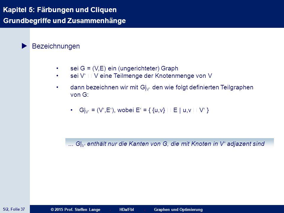 5/2, Folie 37 © 2015 Prof. Steffen Lange - HDa/FbI - Graphen und Optimierung Kapitel 5: Färbungen und Cliquen Grundbegriffe und Zusammenhänge  Bezeic