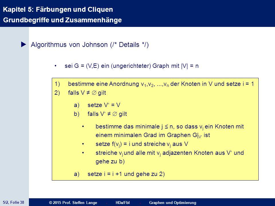 5/2, Folie 38 © 2015 Prof. Steffen Lange - HDa/FbI - Graphen und Optimierung Kapitel 5: Färbungen und Cliquen Grundbegriffe und Zusammenhänge  Algori