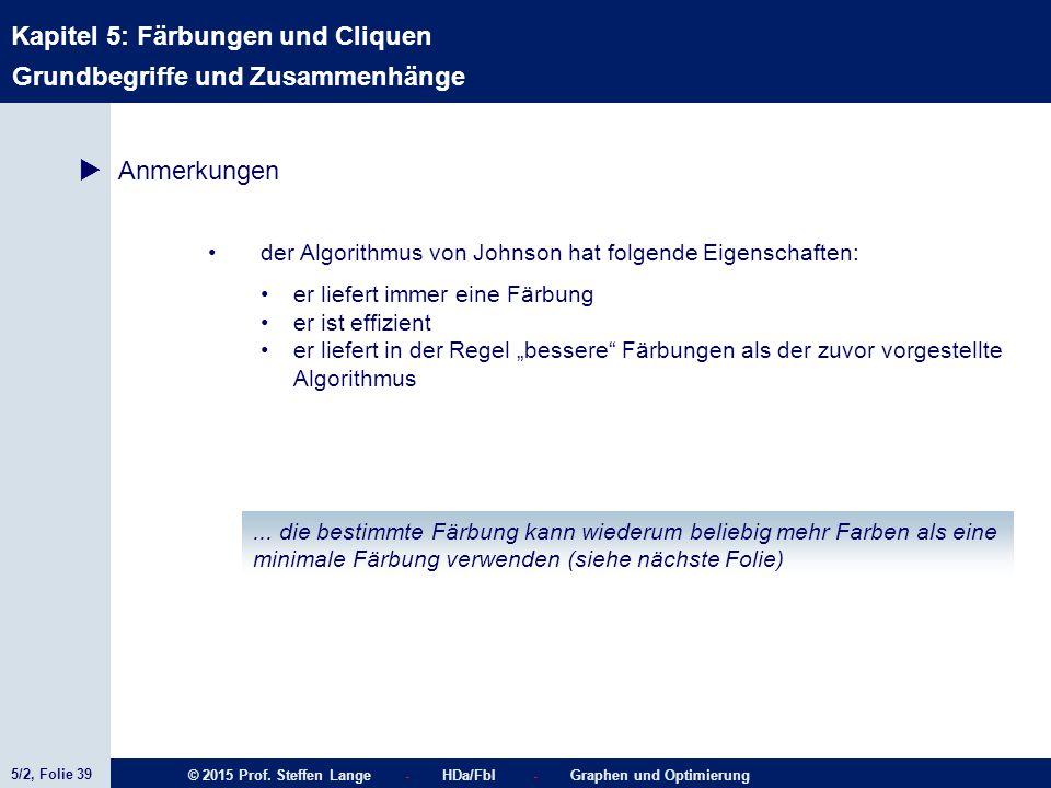 5/2, Folie 39 © 2015 Prof. Steffen Lange - HDa/FbI - Graphen und Optimierung Kapitel 5: Färbungen und Cliquen Grundbegriffe und Zusammenhänge  Anmerk